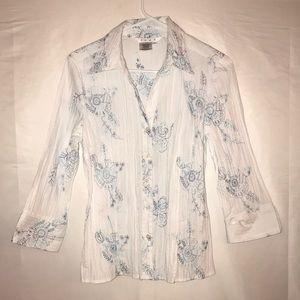Como button up floral blouse sz. Large